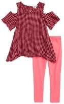 Splendid Girl's Plaid Cold Shoulder Top & Leggings Set