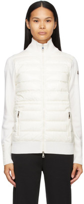 Moncler White Down Panelled Zip-Up Jacket