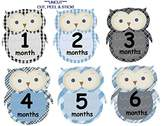 JustStikIt Monthly Baby Boy Stickers Plaid Owls UNCUT Argyle Damask Stripes Boy Owls