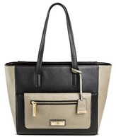 Borsani Women's Faux Leather Ernest Tote Handbag with Zip Closure - Black