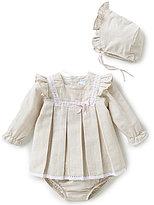 Edgehill Collection Baby Girls Newborn-6 Months Swiss Dot Dress & Bonnet Set