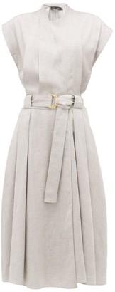 Proenza Schouler Belted Pleated-twill Wrap Dress - Grey
