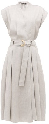 Proenza Schouler Belted Pleated-twill Wrap Dress - Womens - Grey