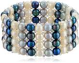 Bella Pearl Triple Row Dark Multi-Stretch Bracelet