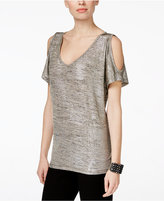 INC International Concepts Petite Metallic Cold-Shoulder Top, Only at Macy's