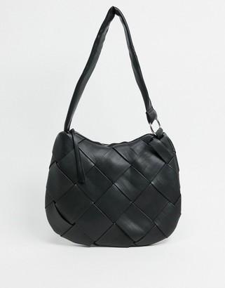 Topshop woven hobo bag in black