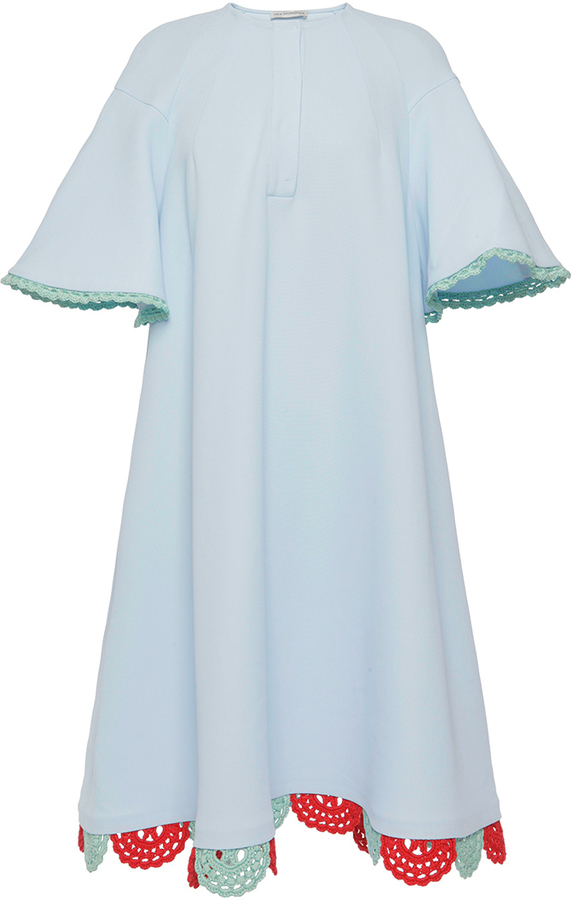 Vika Gazinskaya Oversized Flouncy Sleeved Crochet Detail Dress