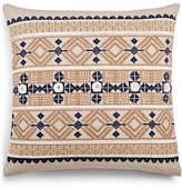 "Lacourte Morga Navy Embroidered 20"" Square Decorative Pillow"