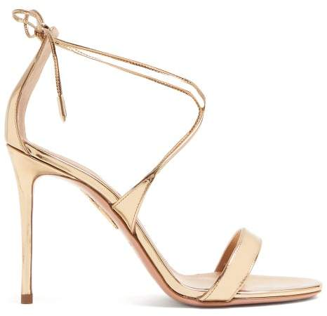 Aquazzura Very Linda 105 Metallic Leather Sandals - Womens - Gold