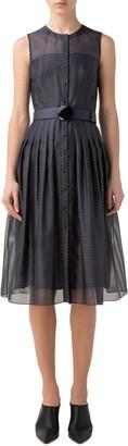 Akris Punto Dot & Stripe Pleated Organza Dress
