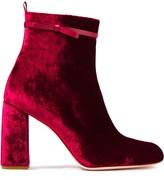 Red(V) Red(v) Leather-trimmed Crushed-velvet Ankle Boots