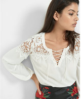 Express lace-up crochet yoke long sleeve blouse