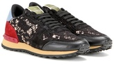 Valentino Garavani Rockrunner lace, leather and suede sneakers