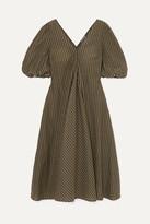 Ganni Metallic Checked Seersucker Midi Dress