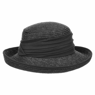 Seeberger Dilara Straw Hat womens hat cuffed hat (One Size - black)