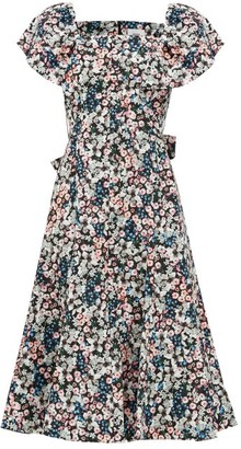 Erdem Maudie Meadow Park-print Cotton Midi Dress - Black Print