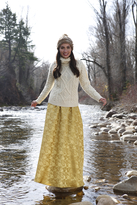 Shabby Apple Wassail Gold Maxi Skirt
