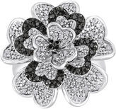 Black Diamond FINE JEWELRY 1/3 CT. T.W. White and Color-Enhanced Sterling Silver Flower Ring