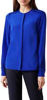 Hobbs Mae Ruffle Detail Silk Blouse, Cobalt
