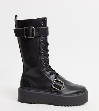 ASOS DESIGN Wide Fit Ashford chunky buckle boots in black