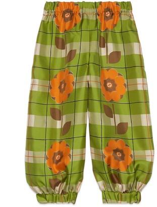 Gucci Children's Interlocking G flower silk trousers