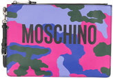 Moschino logo camouflage clutch