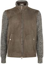 Brunello Cucinelli Knit Sleeve Suede Biker Jacket
