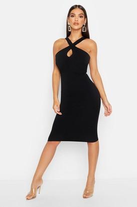 boohoo Twist Front Crepe Midi Dress
