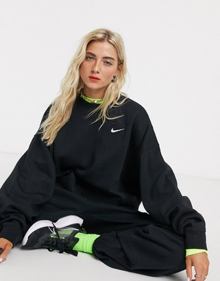 Nike mini Swoosh oversized boxy black sweatshirt