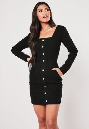 Missguided Black Long Sleeve Square Neck Denim Dress