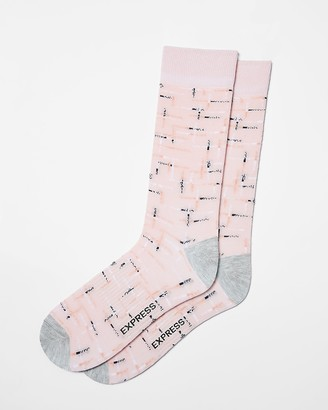 Express Space Dye Line Print Dress Socks