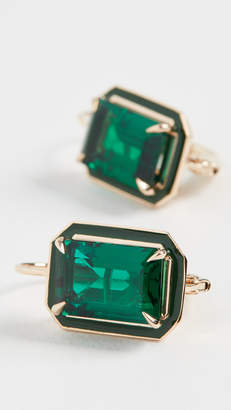 Alison Lou Emerald Rectangle Cocktail Earrings