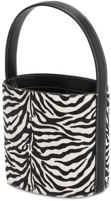 STAUD Bissett Zebra Print Ponyskin Bucket Bag