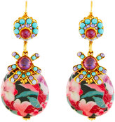 Jose & Maria Barrera Crystal & Floral Découpage Drop Earrings