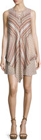 Derek Lam 10 Crosby Sleeveless Mitered Multipattern Dress, Cream/Multicolor