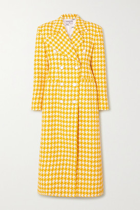 ROWEN ROSE Double-breasted Houndstooth Tweed Coat - Yellow