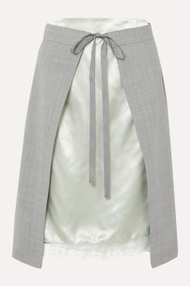 MM6 MAISON MARGIELA Layered Lace-trimmed Satin And Woven Skirt - Gray