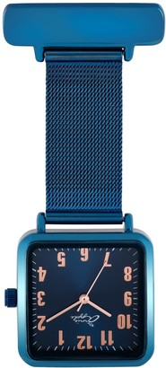 Bermuda Watch Company Annie Apple Square Rose Gold & Blue Mesh Nurse Fob Watch