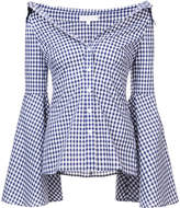 Caroline Constas flared sleeves checked shirt