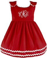 The Well Appointed House Girl's Bon Bon Holly Berries Corduroy Dress-Can Be Personalized
