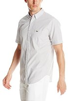 Lacoste Men's Short Sleeve Poplin Gingham Regular Fit Button Down Woven Shirt