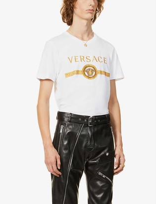 Versace Chain-print brand-embroidered cotton-jersey T-shirt