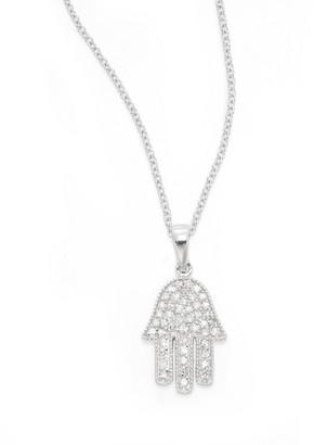 Effy Diamond & 14K White Gold Hamsa Pendant Necklace
