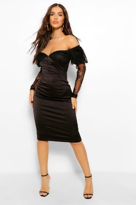 boohoo Lace Bardot Puff Sleeve Midi Dress