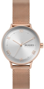 Skagen Women's Nillson Rose Gold-Tone Stainless Steel Mesh Bracelet Watch 34mm