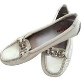 Prada White Patent leather Flats