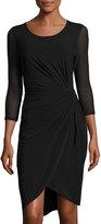 T Tahari Robin Ruched 3/4-Sleeve Jersey Dress, Black