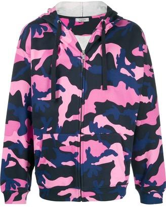 Valentino Camouflage Print Zipped Hoodie