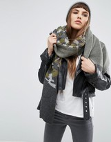 Asos Knitted Mohair Mix Camo Scarf