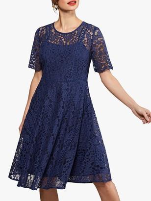 Yumi Lace Flared Dress, Navy